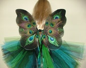 Elegant Peacock Fairy wings, tutu and wand for your baby toddler or child