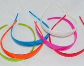 6 Colorful Hard Plastic Headbands with Teeth, Wide Head Band, Perfect for Embellishing, White, Pink, Red, Blue, Green and Orange