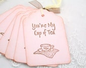 Tea Party Gift Tags Teacup Favor Tags Vintage Pink Set of 10