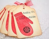 Christmas Gift Tags Mittens Baby, it's Cold Outside