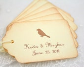 Personalized Wedding Gift Tags / Favor Tags - Name and Date - Bird Sihouette