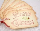 Christmas Tags, Victorian Christmas Tags, Merry Christmas Favor Gift Tags Set of 6