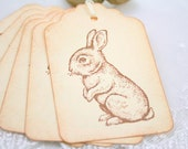 Bunny Rabbit Gift Tags Vintage Stamped