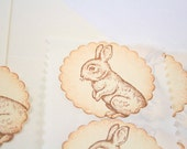 Easter Bunny Stickers Seals Vintage Rabbit