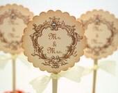 Wedding Cupcake Toppers / Food Picks - Mr. & Mrs. You Pick Ribbon Color Set of 10