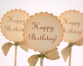 Happy Birthday Cupcake Toppers / Food Picks - Wishes - You Choose Ribbon Color