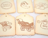 Baby Gift Tags Favor Tags Baby Shower Decorations Assorted Vintage Neutral