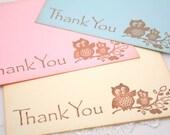 Baby Shower Thank You Cards / Stationery Set Vintage Owls You Choose Color