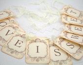 Love is Sweet Banner Garland Wedding Bridal Shower Banner - Petite Vintage Style - Wedding