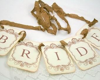 Bride Garland / Banner - Petite Vintage Style - Wedding