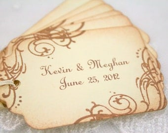 Customized Wedding Gift Tags Personalized Favor Tags - Name and Date - Vintage Swirls