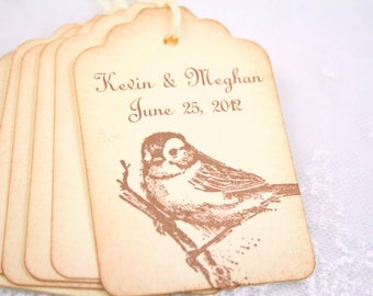 Personalized Wedding Gift Tags / Favor Tags - Name and Date - Vintage Bird