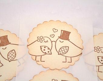 Wedding Stickers Seals Bird Love Birds Bride and Groom Set of 10