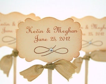 Wedding Cupcake Toppers / Food Picks - Name and Wedding Date You Choose Ribbon Color Set of 10