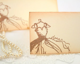 Wedding Place cards / Placecards Food Buffet Sign Vintage Bridal Dress Stamped