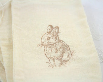 Easter Favor Bags / Muslin Drawstring Gift Bags - Stamped Vintage Bunny Rabbit - Wedding / Birthday / Baby Shower 4x6 OR 5x7