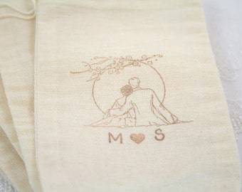 Personalized Muslin Favor Bags / Drawstring Gift Bags - Romantic Couple SET OF 10
