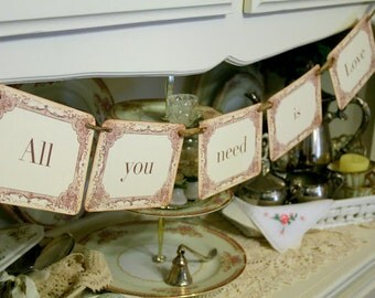 All You Need Is Love Banner Garland Engagement Wedding Photo Prop Bridal Shower Decoration