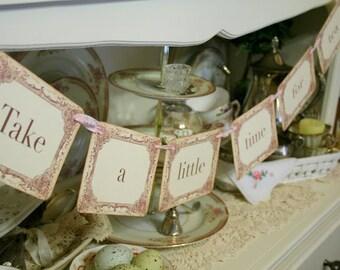Tea Time Banner Garland Tea Party Decoration Photo Prop Bridal Shower