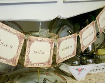 Jane Austen Banner, Jane Garland, Tea Party Decoration, Pride and Prejudice, Bridal Shower