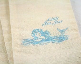 Mermaid Favor Bags / Muslin Drawstring Gift Bags SET OF 10