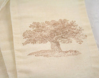 Tree Muslin Favor Bags Stamped Vintage Tree Wedding Bridal Shower Set of 10