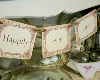 Happily Ever After Garland / Banner Engagement Wedding Photo Prop Bridal Shower Decoration