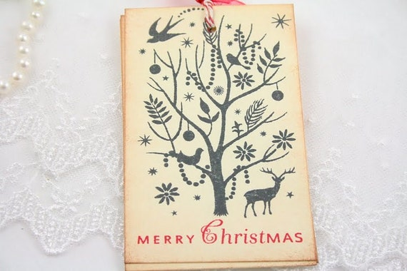 Merry Christmas Tags Reindeer Favor Tags Forest Silhouette