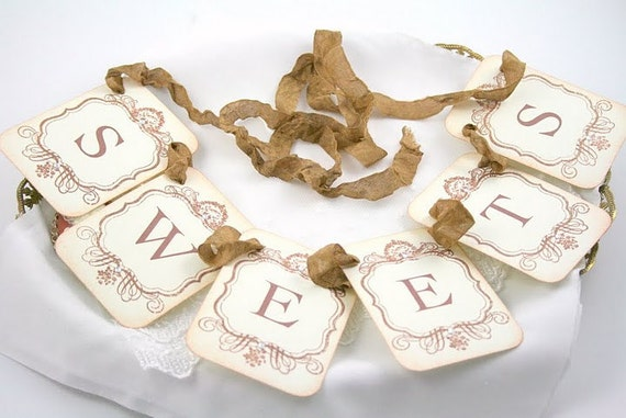 Sweets Garland / Banner - Petite Vintage Style - Wedding