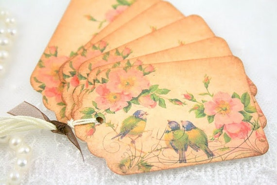 Bird Gift Tags Vintage Bluebirds and Flowers Favor Tags Set of 6