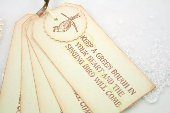 Gift Tags Singing Bird Vintage Style