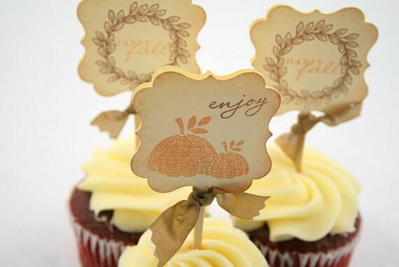 Autumn Thanksgiving Cupcake Toppers / Food Picks - Vintage Pumpkin
