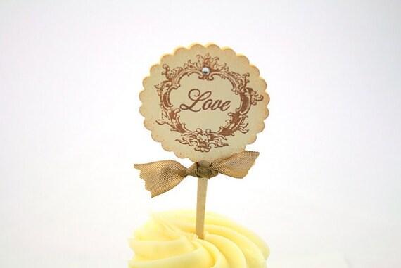Wedding Cupcake Toppers / Food Picks Vintage Love