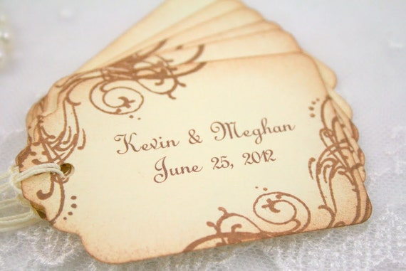 Customized Wedding Gift Tags Personalized Favor Tags - Name and Date - Vintage Swirls Set of 55