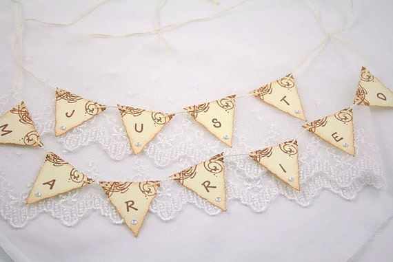 Cake Toppers Just Married Wedding Cake Topper Banner Garland Bunting