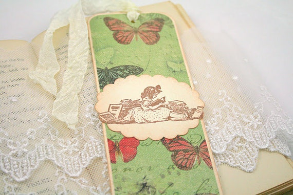 Paper Bookmark Vintage Butterflies and Girl Reading