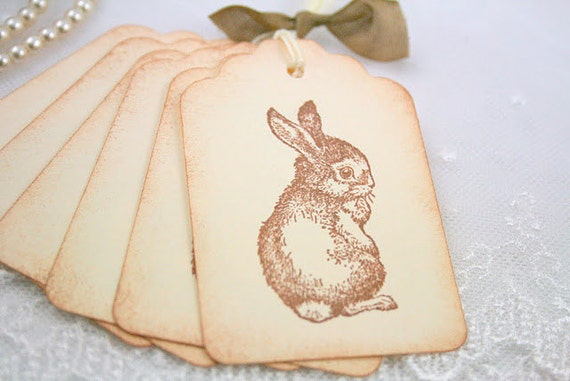 Bunny Gift Tags Shy Rabbit Shabby Chic Favor Tags