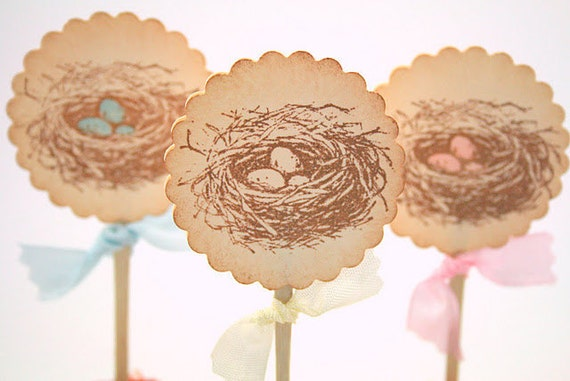 Baby Shower Cupcake Toppers / Food Picks Birthday Party Bird Nest Eggs