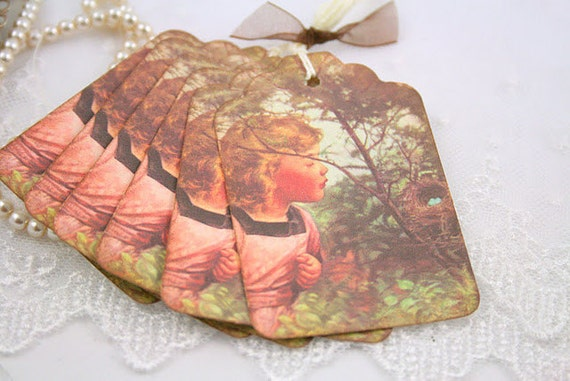 Bird Tags Girl and Nest Gift Favor Tags