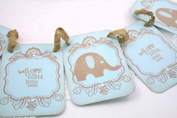 Baby Boy Banner Garland Petite Style Vintage Elephant Shower Decoration