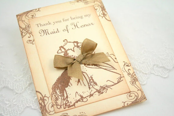 Maid of Honor Thank You Card - Vintage Wedding Dress - You Choose Ribbon Color