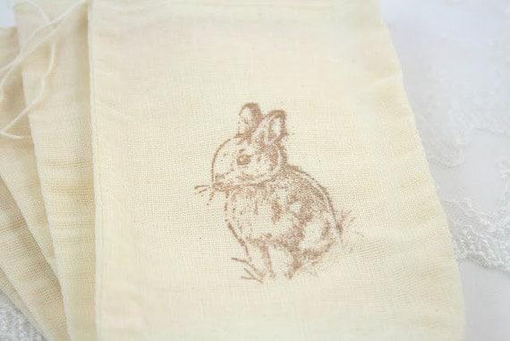 Easter Favor Bags / Muslin Drawstring Gift Bags Bunny Rabbit SET OF 10