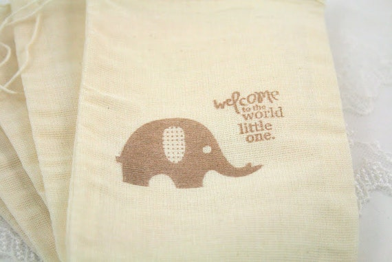 Muslin Favor Bags / Drawstring Gift Bags - Stamped Vintage Baby Elephant - Baby Shower
