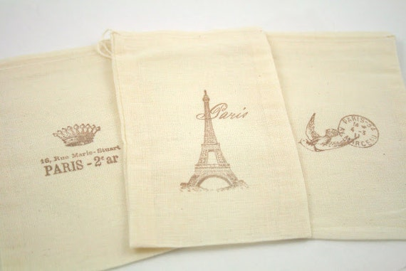 Muslin Favor Bags / Drawstring Gift Bags - Stamped Paris Eiffel Tower in Brown - Wedding / Birthday / Baby Shower 4x6 OR 5x7