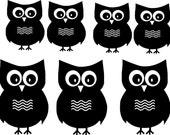 Owl Vinyl Wall Decal - Set of 7 Hoot Owls