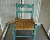 Vintage Folk Art Hand Painted Child's Chair