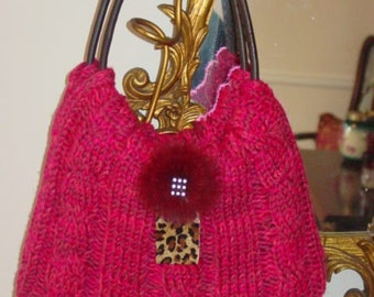 Pretty in Raspberry  Knitted Handbag
