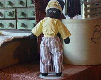 Vintage Folk Art Black Stuffed Sock Doll  REDUCED
