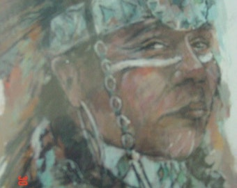 Original Native American Painting by Bruce  Holwerda  REDUCED