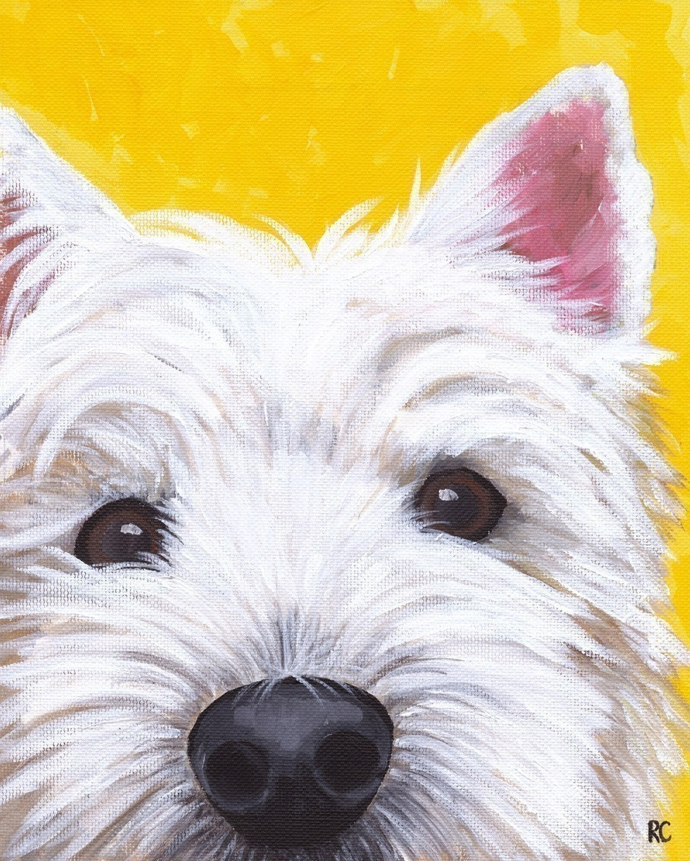 West highland terrier westie dog art signed 8x10 print from for Painting of your dog